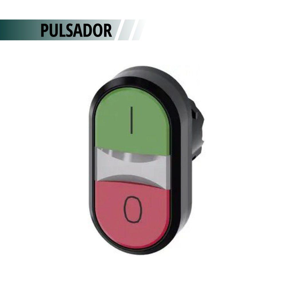 PULSADOR DOBLE ACT ROJO/VERDE RAS C/S CONTACTOS