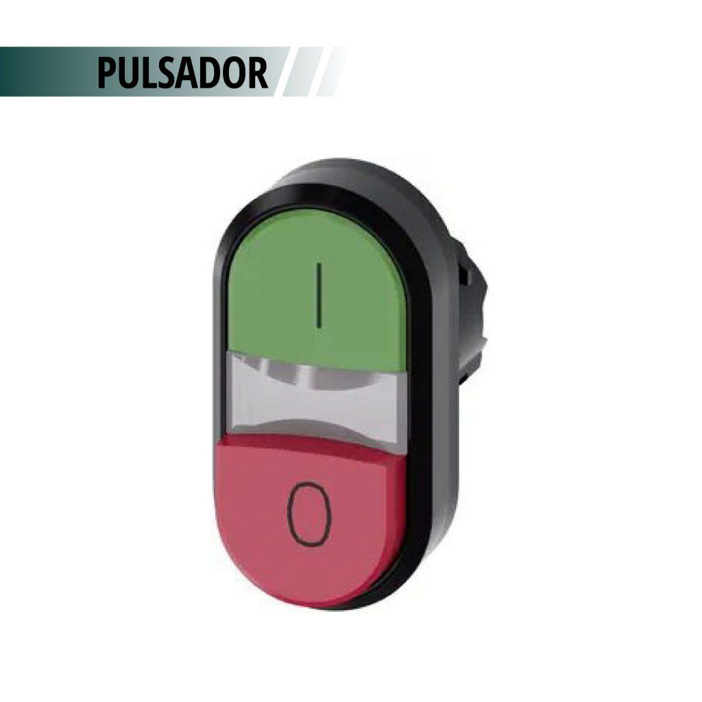 PULSADOR DOBLE ACT VERDE/ROJO SALIENTE S/CONTACTOS
